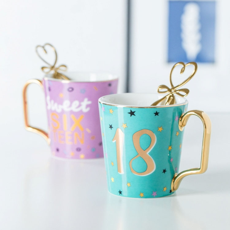 Gold <font><b>Lucky</b></font> Numbers Age 16 18 30 Animal Flamingo <font><b>Cat</b></font> Ceramic Coffee Mug Breakfast Milk Water <font><b>Cup</b></font> Couple Creative Birthday Gifts image