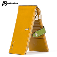 BOSTANTEN Patchwork Credit Crad Holders Cow Genuine Leather Women Card Case Ultra Thin Large Capacity Double