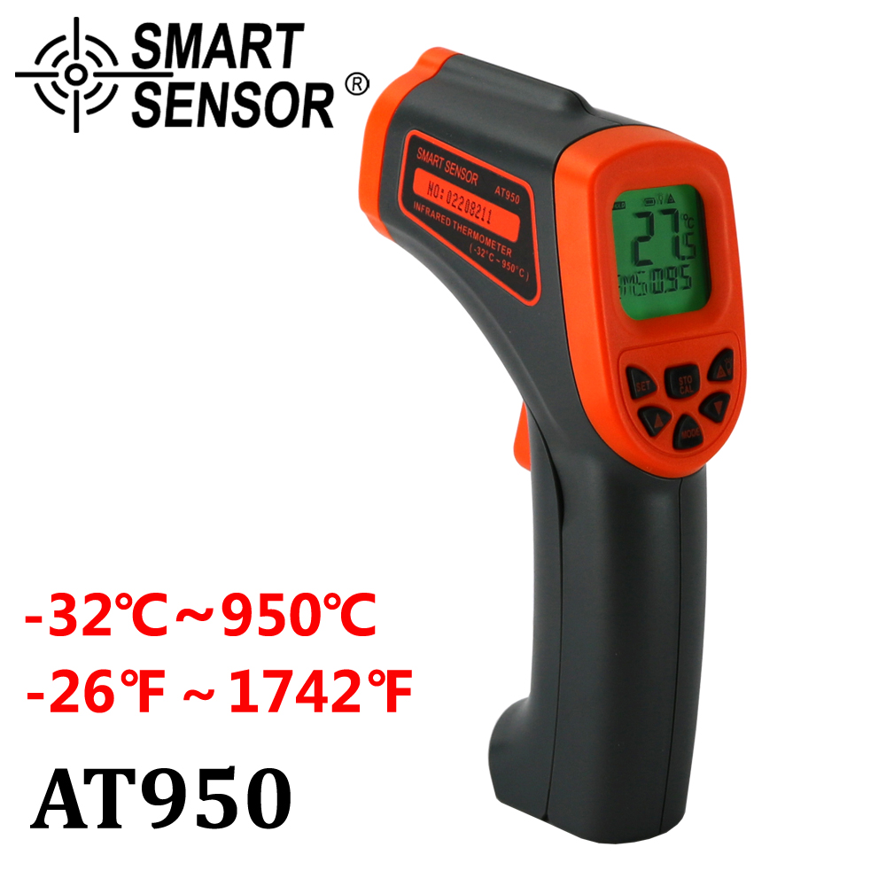AT950 Digital Infrared Thermometer -32~950 C Non-Contact laser IR Temperature Gun Pyrometer teste Aquarium Emissivity Adjustable elecall 50 800c adjustable emissivity autooff lcd noncontact digital laser infrared thermometer ir high temperature gun tester page 9