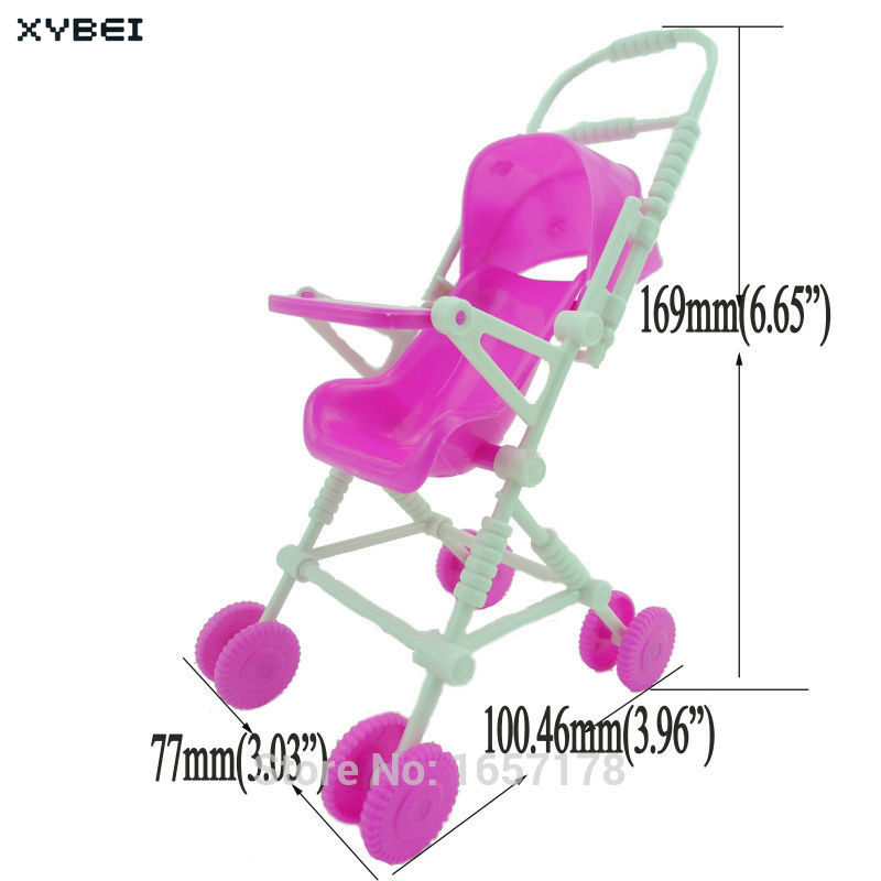 2 Items/Lot U003d 1x Mini Furniture High Chair + 1x Pink Assembly Baby Stroller  Accessories For Barbie Kelly Size Doll 1 : 12 Puppet In Dolls Accessories  From ...