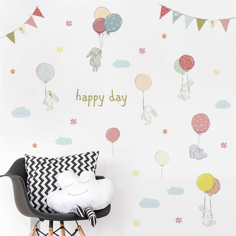 % 3D cartoon animal rabbit flower balloons Flag wall sticker for kids rooms decal bedroom living room mural home party decor