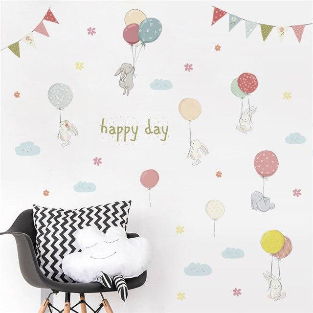 % 3D cartoon zwierząt królik kwiat balony flaga naklejki ścienne dla dzieci pokoje naklejka sypialnia salon mural dekoracje domowe na przyjęcie
