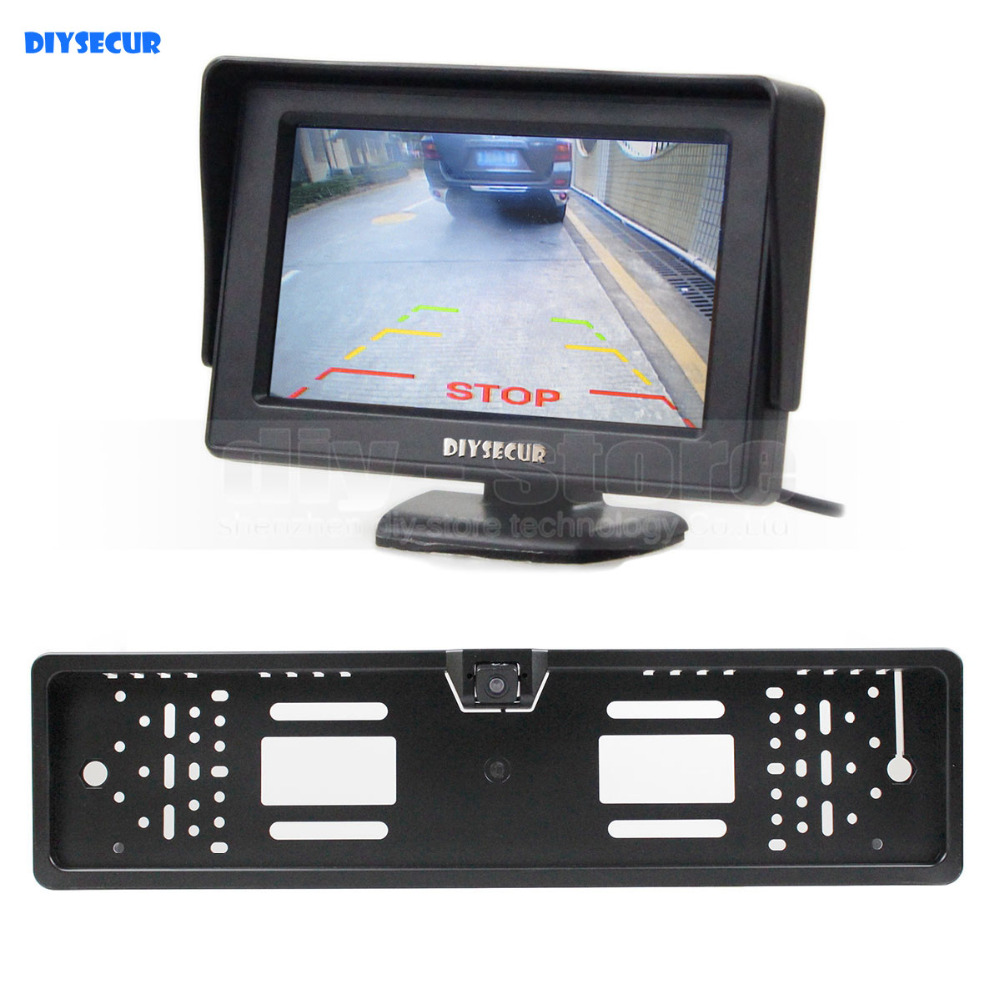 DIYSECUR Waterproof European Car License Plate Frame Rear View Backup Camera 4 3 inch LCD Display