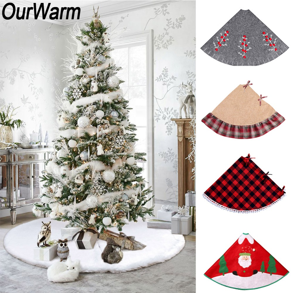 OurWarm Christmas Tree Skirt 30/36/48inch Round Carpet Christmas Decorations For Home Floor Mat New Year 2019 Xmas Tree Skirts