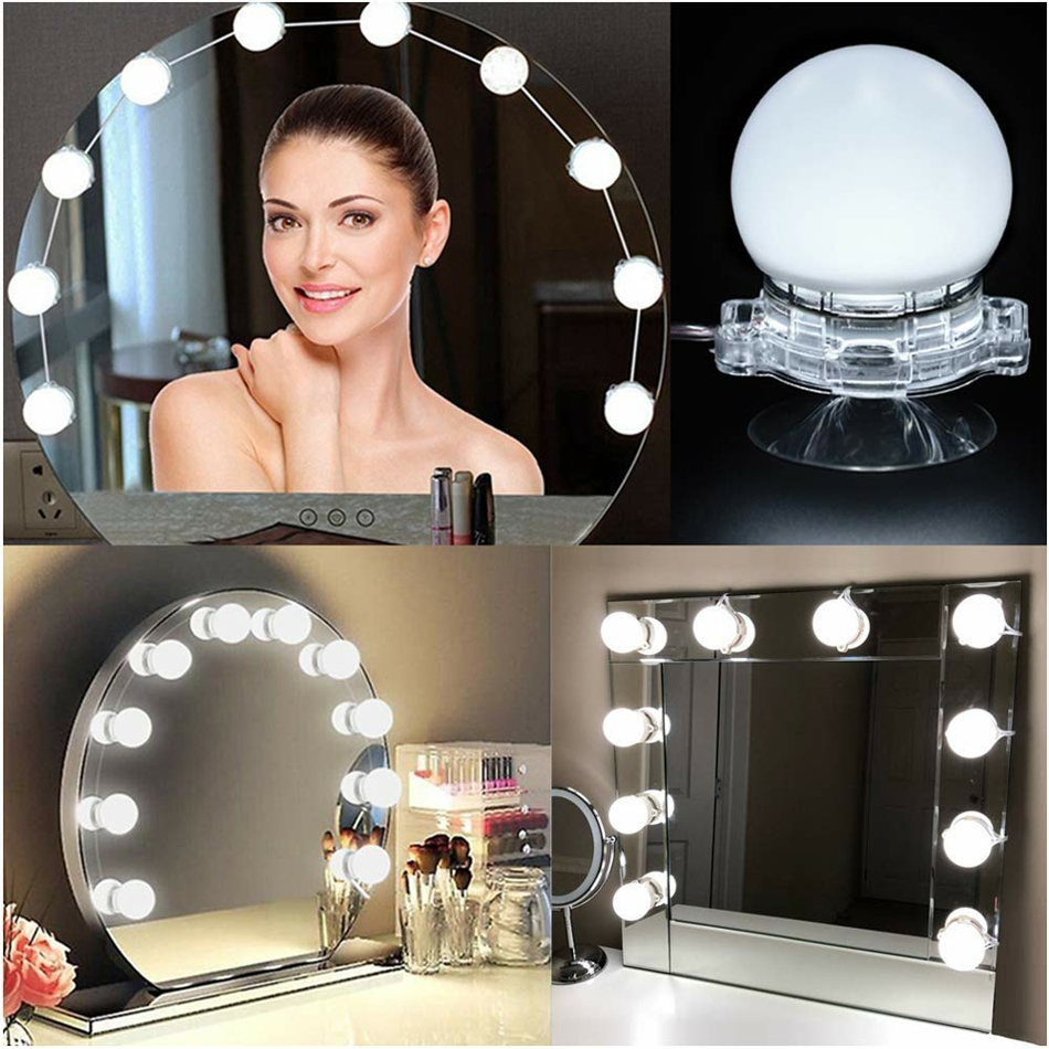 10pcs/lot Hollywood Style LED Mirror Light Vanity Mirror String Lights Kit with Touch Dimmer for Dressing Table Bathroom hollywood style makeup mirror vanity led light bulb kit for dressing table with dimmer power supply plug in linkable ac 100 240v