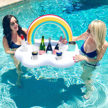 Ice Bucket Rainbow Cloud Cup Holder Inflatable Pool Float Cooler Table Drink Food Tray Party Toys Boia Piscina Swimming Mattress(China)
