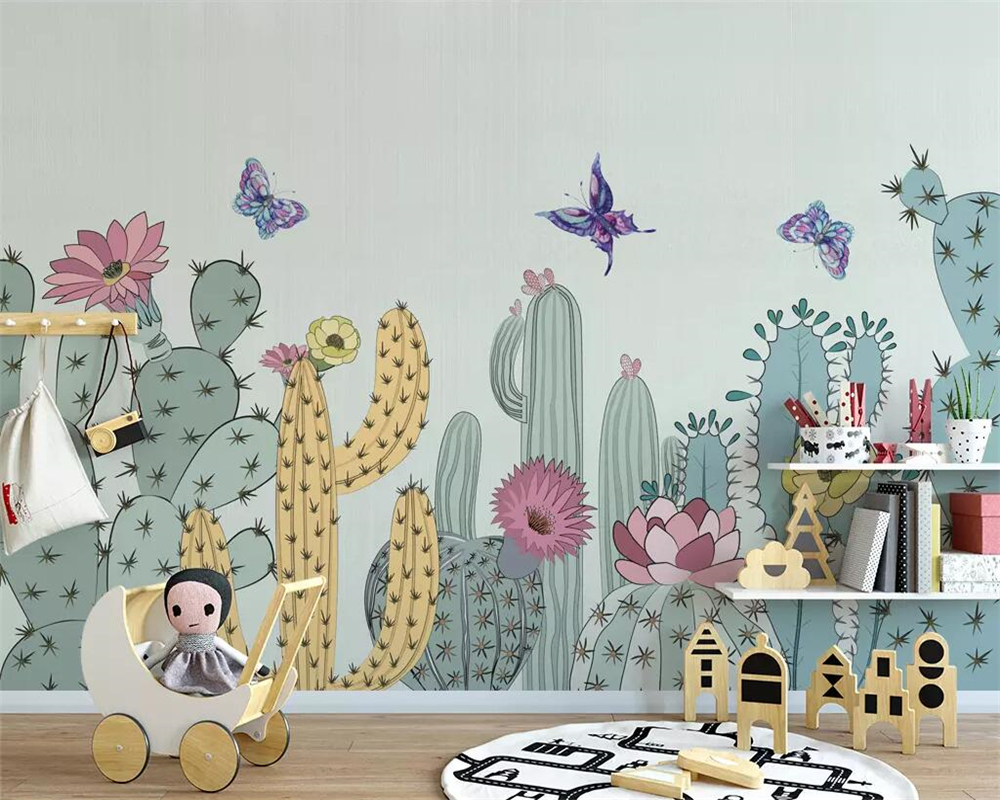 beibehang Hand-painted American pastoral mural cactus childrens room background wallpaper living bedroom 3d