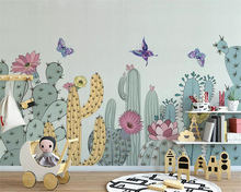 beibehang Hand-painted American pastoral mural cactus children's room background wallpaper living room bedroom 3d wallpaper free shipping cartoon wallpaper children room bedroom retro wood frame background wallpaper hand painted animal mural