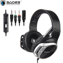 SADES PS4 Gaming Headphone Wired Noise Cancelling Over Ear Headset Earphone with microphone for Xbox  Laptop PC Mac Mobile phone free shipping game gaming earphone new for pc mobile phone ps4 mic audio bass noise cancelling