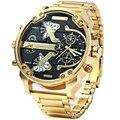 Los hombres Relojes de Marca de Lujo de Los Hombres Militares Relojes de Pulsera Hombres de Acero Completo Reloj Deportivo Zona Horaria Múltiple Impermeable Relogio masculino