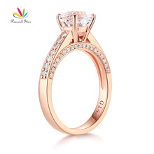 Peacock Star 14K Rose Gold Wedding Engagement Ring 1.2 CT Topaz 0.42 Natural Diamonds