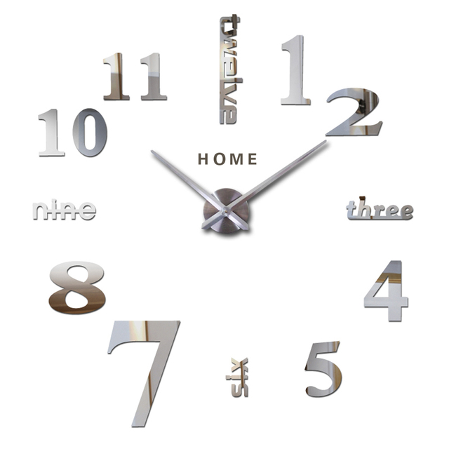 Home English Letters Arabic Digital Wall Clock Modern Home Decor