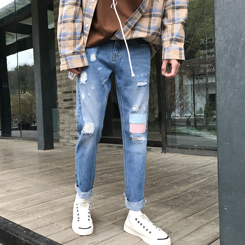 2018 New Mens Fashion Holes Ankle-length Patch Decorate Casual Pants Stretch Slim Fit Jeans Blue Large Size Trousers 28-34