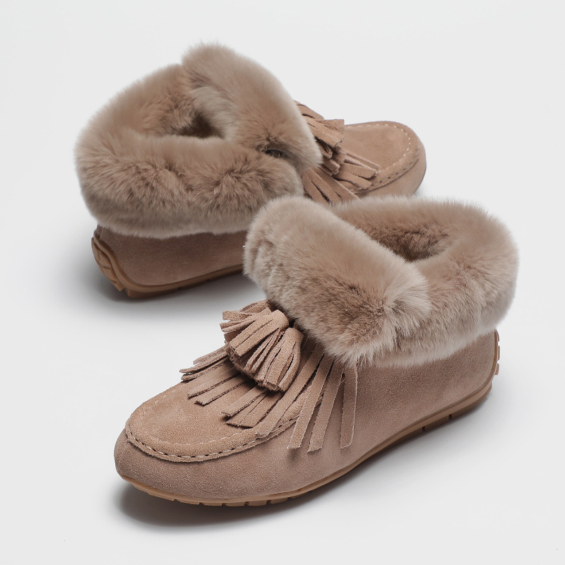 70a19b449 Detail Feedback Questions about Sheepskin Tassel sewn fur moccasins shoes  women ladies cozy slip on fringe espadrilles flat loafers shoes women  creepers ...