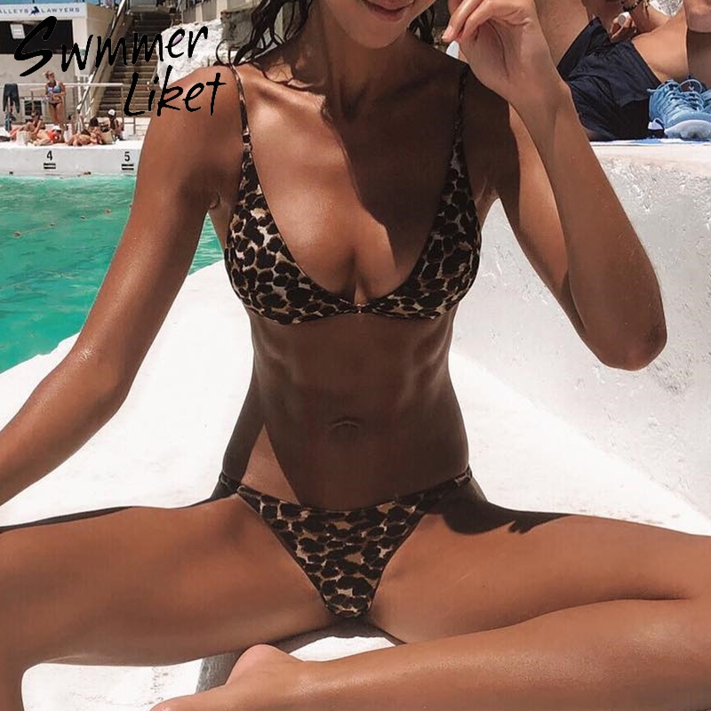 Extreme Bikini Micro Leopard Bikini 2019 High Cut Thong Swimsuit Female Swimwear Triangle Bathing Suit Push Up Two-piece Suit