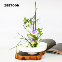 Zen Flower Arrangement Hydroponic Tabletop Flower Pot Ikebana Vase Ceramic Container white basin Food bowl Vintage home decor