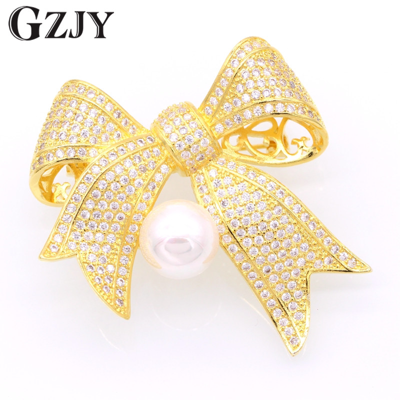 Fashion Jewelry Bow Yellow Gold Pated Shell Pearl&Zircon Scarf Brooches Pins Clothes Accessories For Women Christmas Gift