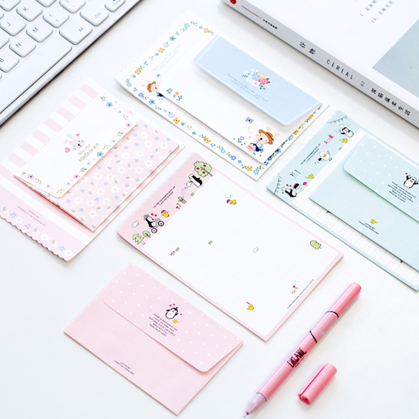 6Pcs/set Kawaii Rabbit Penguin Flower  2 Envelope+4 Paper Letter Creative Stationery Gift School Office Supplies