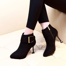 2019 Black Thin High Heels Women Ankle Boots Sexy Ladies Party Shoes Spring Autumn Boots Woman Pointed Fashion Shoes CH-A0068 цена 2017