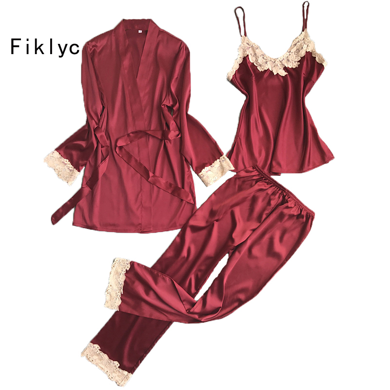 Fiklyc brand three pieces satin lace padded   pajamas     sets   with long sleeve bathrobe sexy v-neck womens lingerie   sets   nightwear