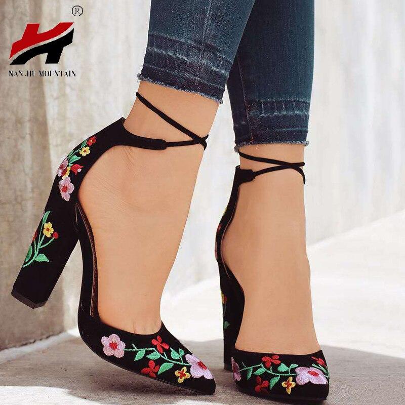 Модные новые туфли на высоком каблуке с вышивкой в стиле ретро женские туфли на высоком каблуке Летняя обувь удобные женские Размеры 34–43 ...