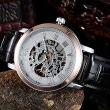 Correa de Cuero relojes de Los Hombres 2016 Nueva Moda Joya Alto Vidrio Manual MechanicalOpenwork Negocios reloj