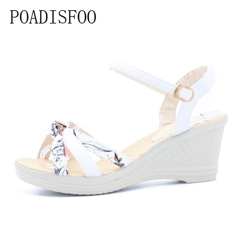 [Classic]2017 Women Platform Sandals Wedges Metal Button Sandals Buckle Strap Weave Thick Bottom Shoes Plus Size 35~41 .lx-043