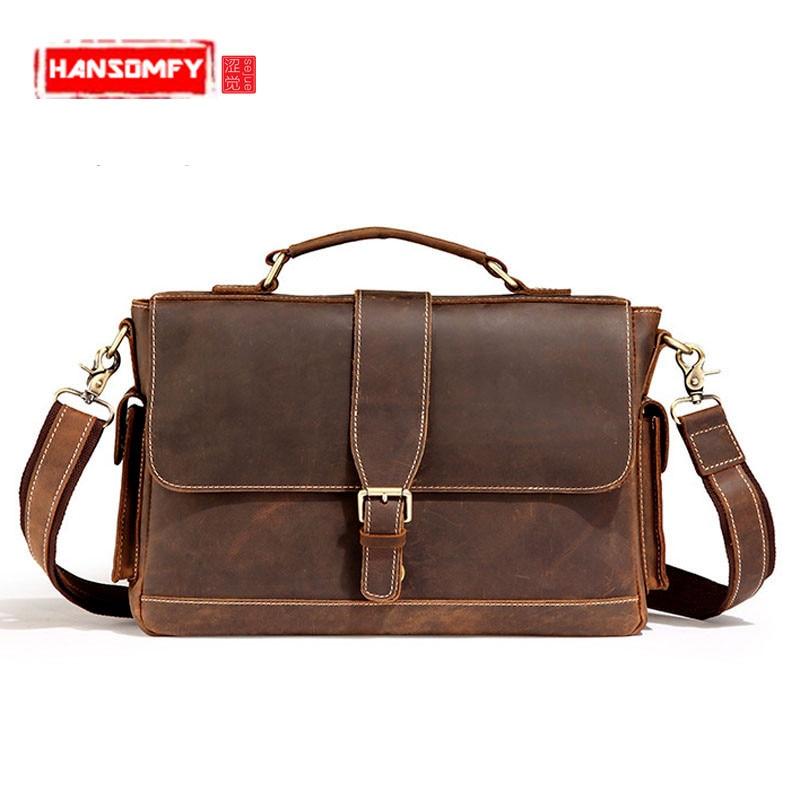 все цены на Vintage Men Handbags Wanderers Marble Messenger Bag Male Shoulder Bag Men 's Genuine Leather Business Briefcase