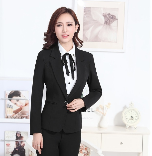 444701e88c16 Formal Elegant Black Female Blazers Feminino Office Ladies Blazer Jacket  Tops Clothes Women Work Wear Professional Blaser