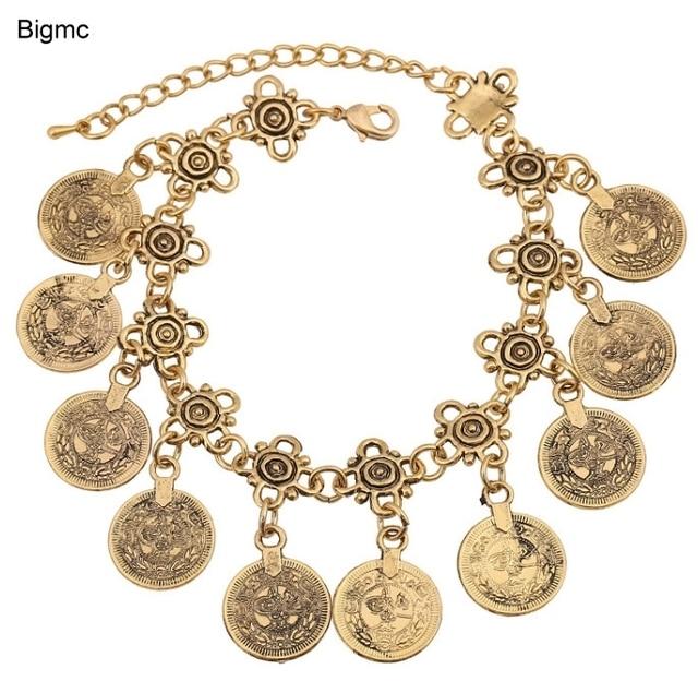 28a5ba8bc235 Encanto retro franja monedas antiguas Suite pulsera moda nueva oro plata  dos colores pulsera Yoga joyería