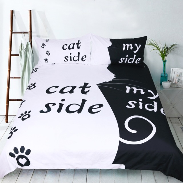 Free Shipping Funny Gift Cat Side My Side Words Bedding