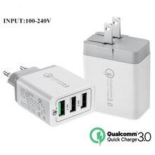 10 PCS Travel 3A Quick Charger QC3.0 EU US UK Plug Wall 3 USB Ports For iPhone 7 8 X iPad Samsung S8 Huawei Xiaomi QC 3.0 30W