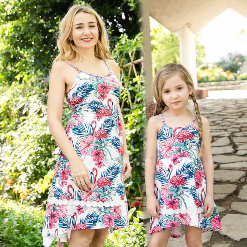 f6b0c5e896f6 2018 Family Clothes Lady Mother Daughter Matching Summer Girl Flamingos  Sleeveless Print Short Mini Dress Outfit