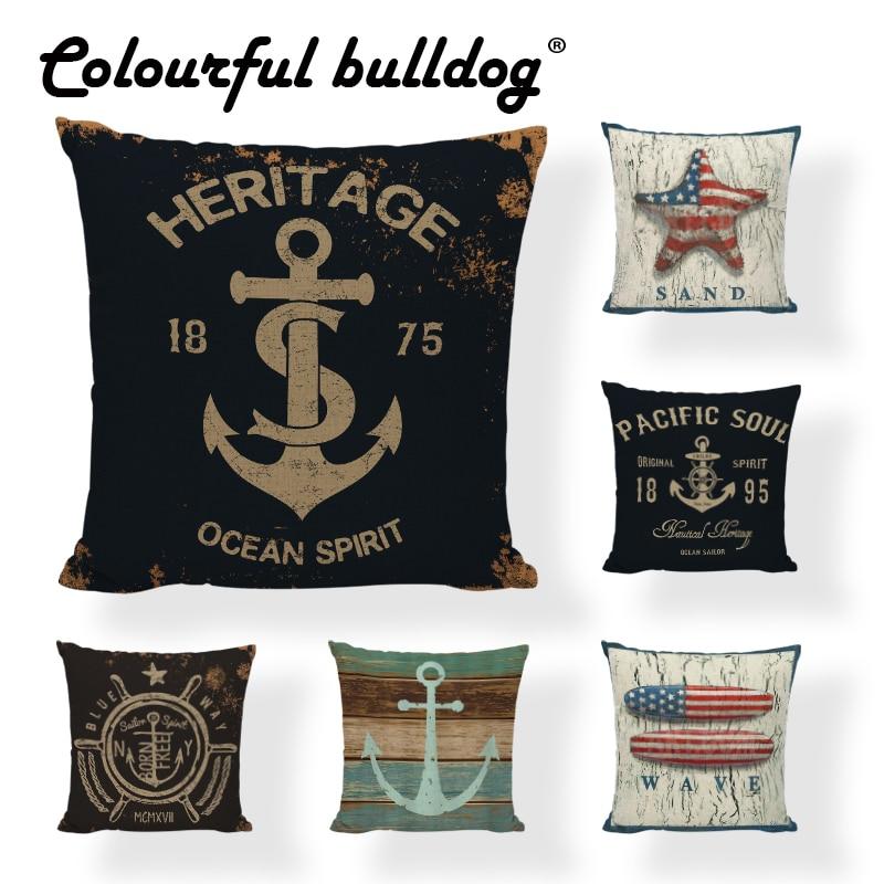 Marine Series Throw Pillow Cases Sugar Skull Seafood Menu Linen Cotton Nautical Home Decor Sofa Bench Seats Anchor Cushion Cover
