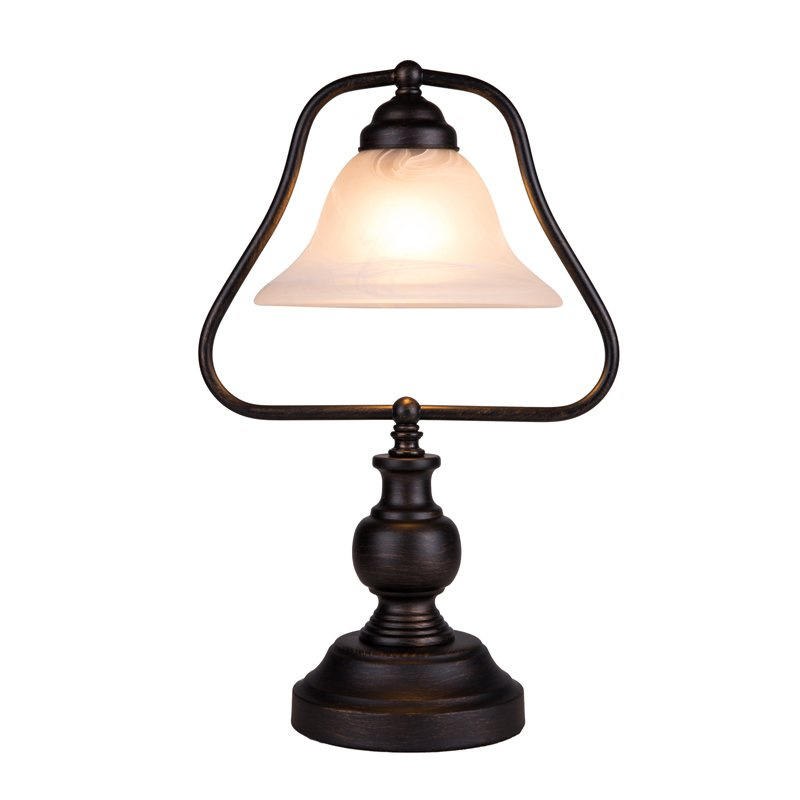 Vintage Height 18 Study Room Table Lights European Bronze Metel Base Glass Lampshade Living Room Reading Desk lighting Fixtures