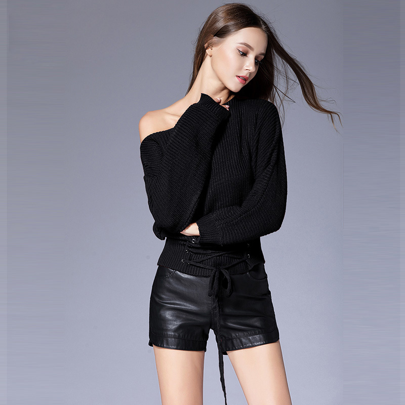 9bb251ddd0eb9 Πλεκτά Willstage Women Sweaters Front Lace-up Criss-cross Sexy off the  shoulder Long Sleeve Warm Knitted Top Loose Casual Pullovers New