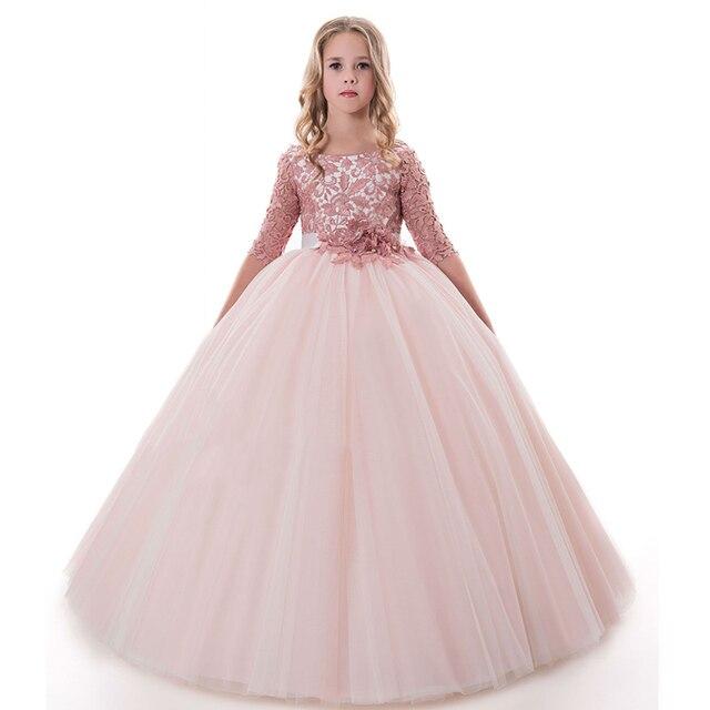 pink mesh flower girls dress vestido nina long ball gowns for kids fantasia  infantil para menina little girls dresses 2-12years 739015f1bc8d