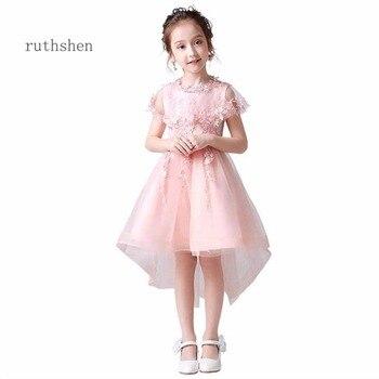 3117afb26 Ruthshen Real fotos hermosa niña de las flores vestido lindo una línea de  alta baja vestidos