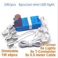 Dimmable LED Ceiling Light 1W *6pcs Embedded Mini Spot light AC85 265V Down light for Showcase Wine Cabinet Lamp