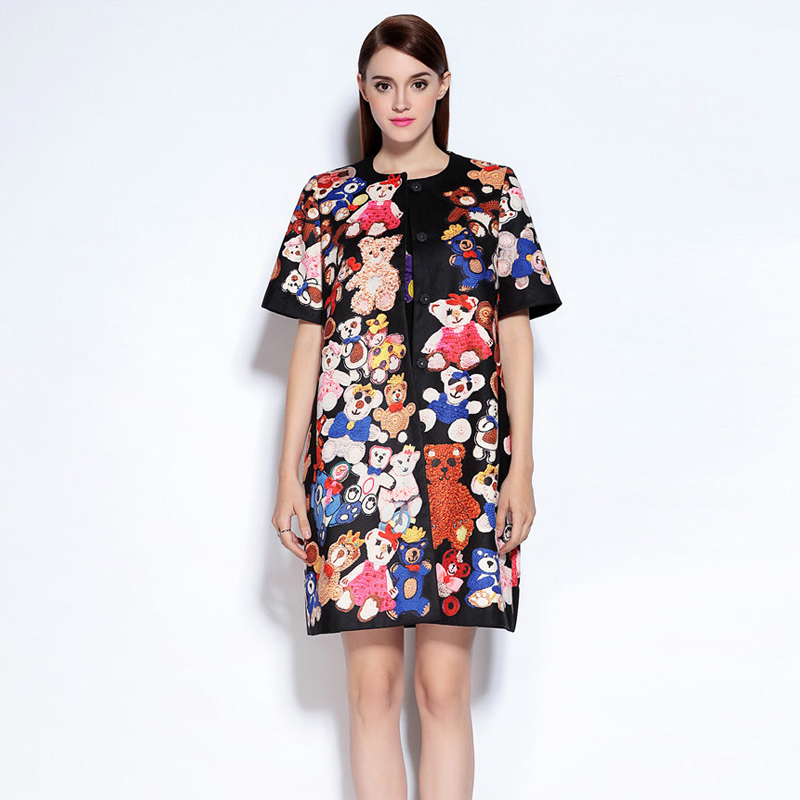 Fashion Cute Bear Printing Loose Women Dress Casual Polyester O Neck Single