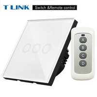 TLINK EU Standard 3gang Touch Switch LED 170 240V Waterproof Tempered Home Wall Switch Remote Control