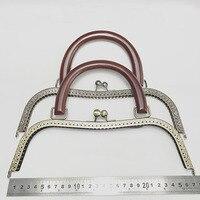 2 teile/los 27 cm große größe Metall Geldbörse Rahmen holz griff antike bronze silber kuss schließe geldbörse rahmen DIY Tasche zubehör|Möbelzubehör|   -