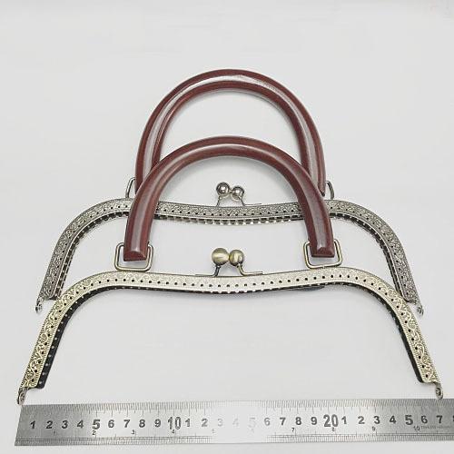 2 teile/los 27 cm große größe Metall Geldbörse Rahmen holz griff antike bronze silber kuss schließe geldbörse rahmen DIY Tasche zubehör