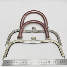 2pcs/lot 27 cm big size Metal Purse Frame wood handle antique bronze silver kiss clasp purse frames DIY Bag Accessories