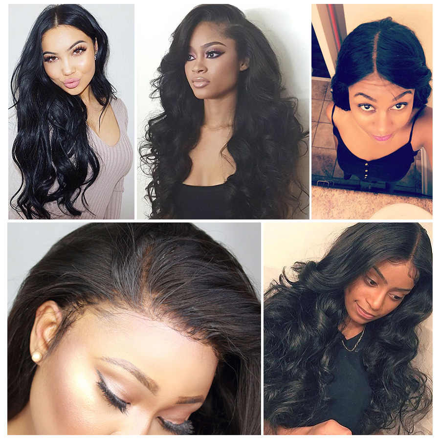 RXY 360 Lace Frontal Wig Pre Plucked With Baby Hair Brazilian Body Wave Lace Front Human Hair Wigs For Women Black Non-Remy Hair (3)