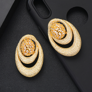 Image 5 - GODKI 43MM Famous Luxury Popular Waterdrop Stud Earring For Women Accessories Full Cubic Zirconia Earrings pendientes mujer moda