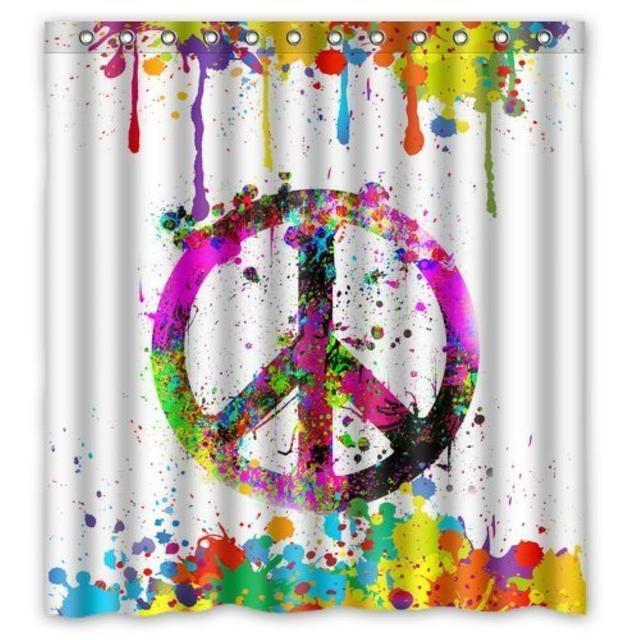 Colorful Splash Peace Symbol Sign Custom Shower Curtain Pattern Waterproof For Bathroom 66