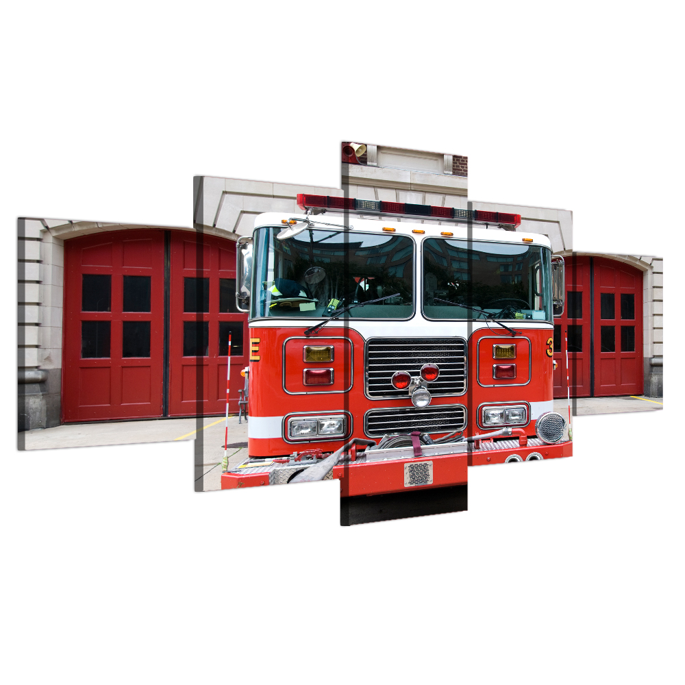 Under Fire Firefighters Fight Fire Equipment Firetruck Cotton Fabric by the Yard