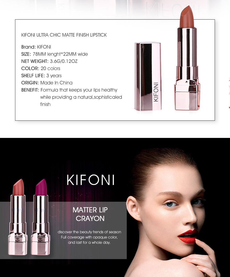 HTB1GTZ2mnCWBKNjSZFtq6yC3FXaW New Arrival KIFONI brand makeup beauty matte lipstick long lasting tint lips cosmetics lip stick maquiagem make up red batom