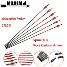 6/12pcs Archery Pure Carbon Arrow Fiber Spine 400 ID6.2mm GPI7.5 Compound/Recurve Bow Outdoor Shooting Accessories